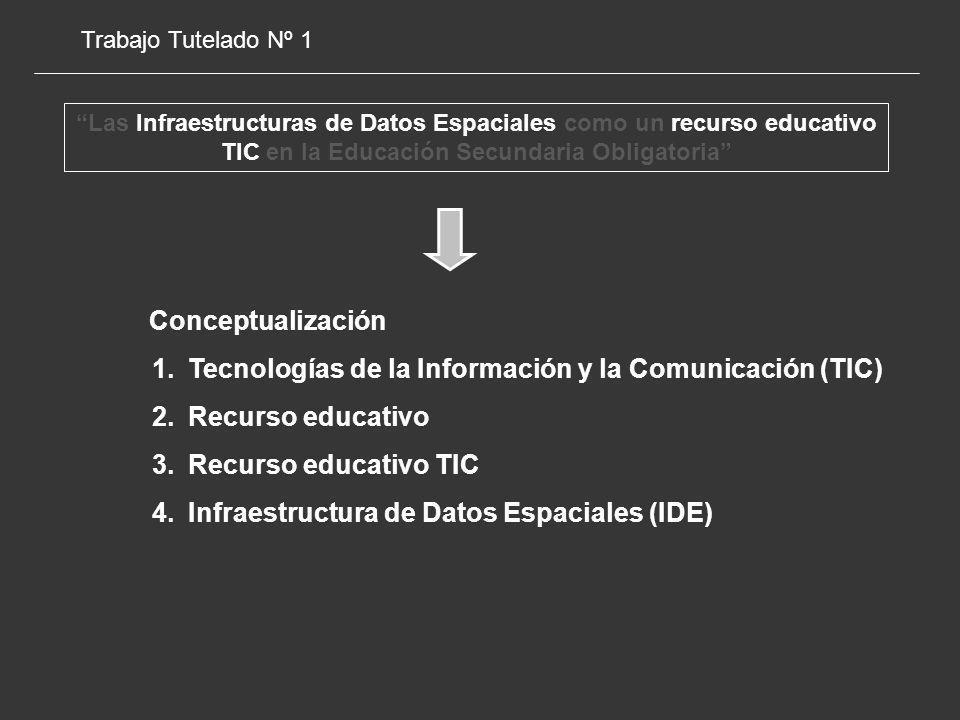 Trabajo Tutelado Nº 1 Las Infraestructuras de Datos Espaciales como un recurso educativo TIC en la Educación Secundaria Obligatoria Conceptualización 1.Tecnologías de la Información y la Comunicación (TIC) 2.Recurso educativo 3.Recurso educativo TIC 4.Infraestructura de Datos Espaciales (IDE)
