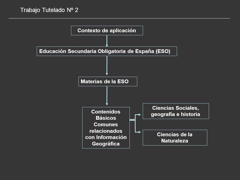 Materias de la ESO Contenidos Básicos Comunes relacionados con Información Geográfica Ciencias de la Naturaleza Ciencias Sociales, geografía e historia Contexto de aplicación Educación Secundaria Obligatoria de España (ESO) Trabajo Tutelado Nº 2