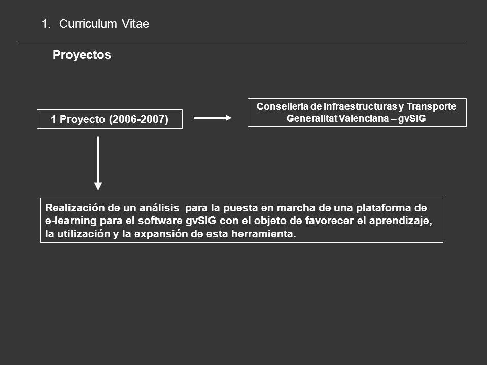 1.Curriculum Vitae Proyectos CYTED Programa Iberoamericano de Ciencia y Tecnología para el Desarrollo 1 Proyecto (2005-2009) Evaluación y potenciación del papel de las Infraestructuras de Datos Espaciales en el desarrollo sostenible en América Latina y el Caribe