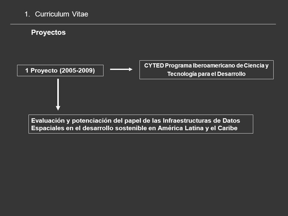1.Curriculum Vitae Proyectos Dirección de Relaciones con Latinoamérica Universidad Politécnica de Madrid 1 Proyecto (2008-2009) Proyecto Redes Temáticas: Formación y difusión de las IDE