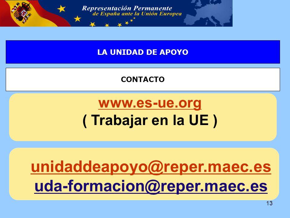 LA SELECCIÓN DE PERSONAL EN LA UE : La EPSOLA UNIDAD DE APOYO CONTACTO 13 www.es-ue.org ( Trabajar en la UE ) ( unidaddeapoyo@reper.maec.es uda-formacion@reper.maec.es