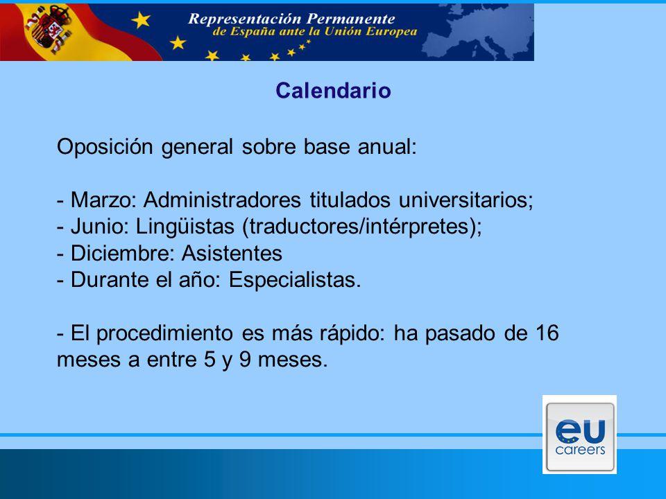 Calendario Oposición general sobre base anual: - Marzo: Administradores titulados universitarios; - Junio: Lingüistas (traductores/intérpretes); - Diciembre: Asistentes - Durante el año: Especialistas.