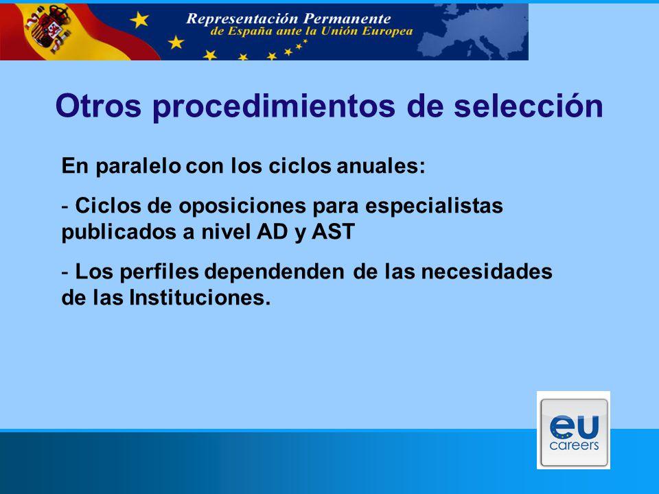 Otros procedimientos de selección En paralelo con los ciclos anuales: - Ciclos de oposiciones para especialistas publicados a nivel AD y AST - Los perfiles dependenden de las necesidades de las Instituciones.