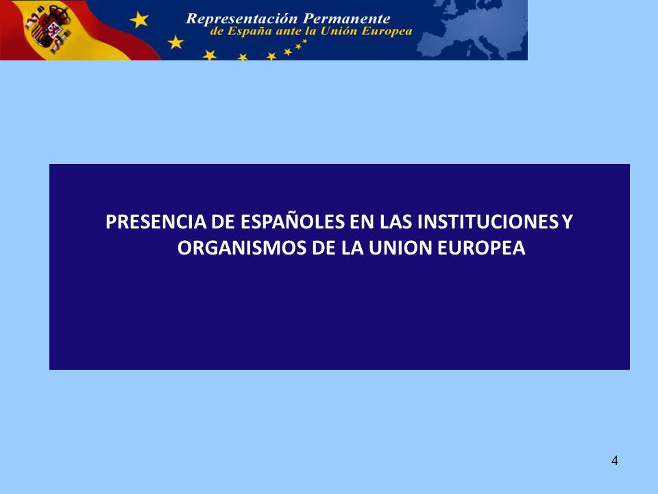 PRESENCIA DE ESPAÑOLES EN LAS INSTITUCIONES Y ORGANISMOS DE LA UNION EUROPEA 4
