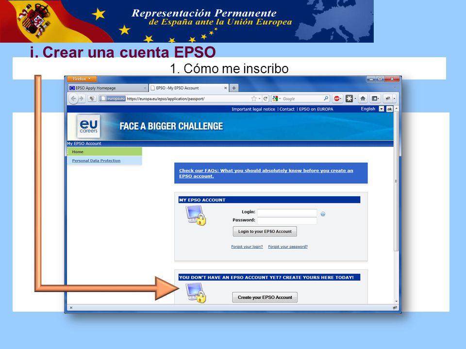 i. Crear una cuenta EPSO