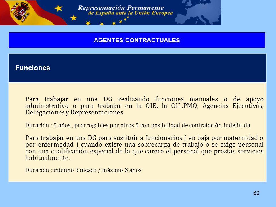 60 Funciones Para trabajar en una DG realizando funciones manuales o de apoyo administrativo o para trabajar en la OIB, la OIL,PMO, Agencias Ejecutivas, Delegaciones y Representaciones.