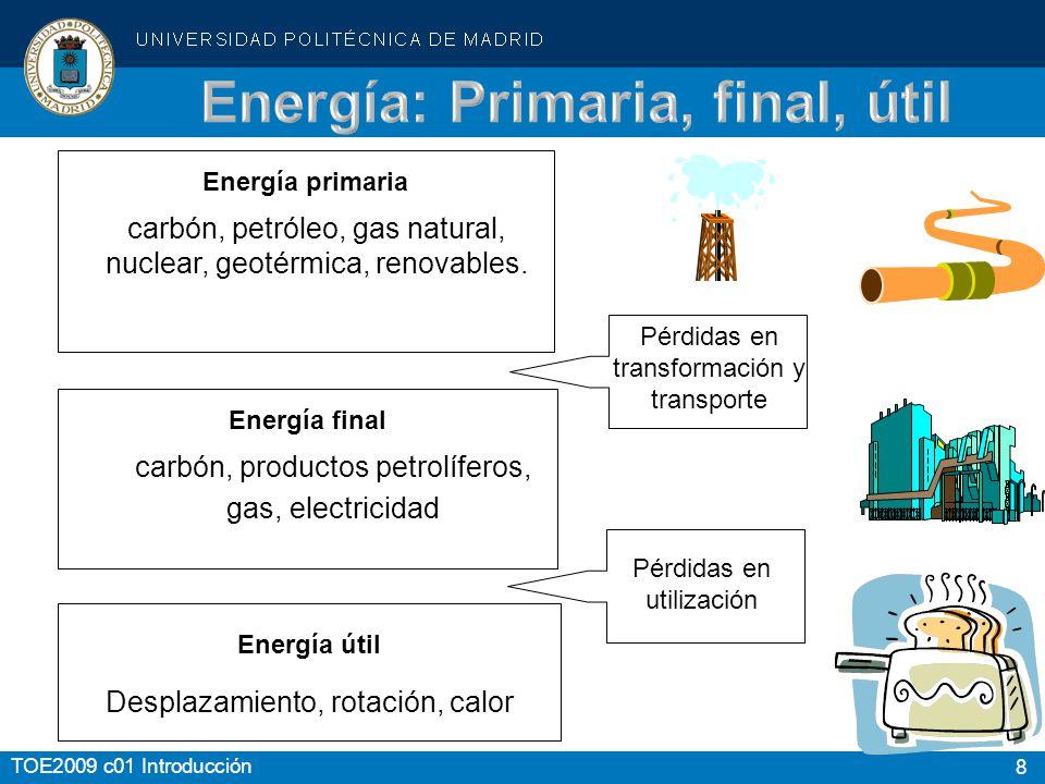 8 Energía primaria carbón, petróleo, gas natural, nuclear, geotérmica, renovables. Energía final carbón, productos petrolíferos, gas, electricidad Ene