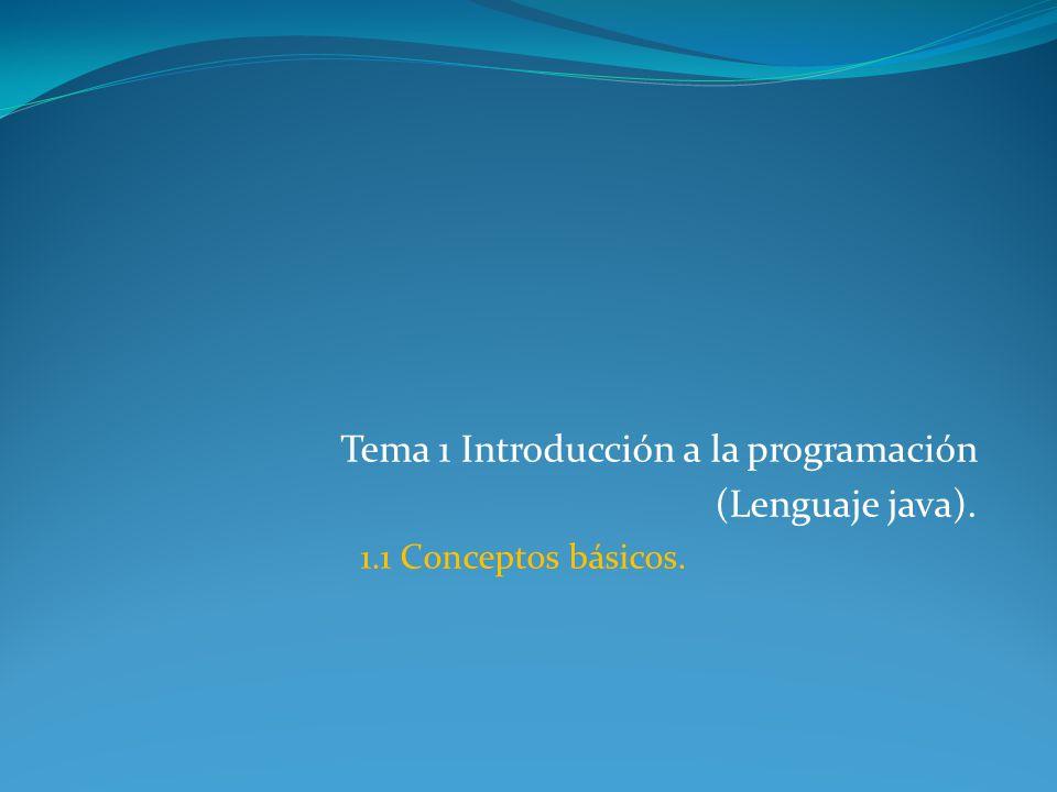 Tema 1 Introducción a la programación (Lenguaje java). 1.1 Conceptos básicos.