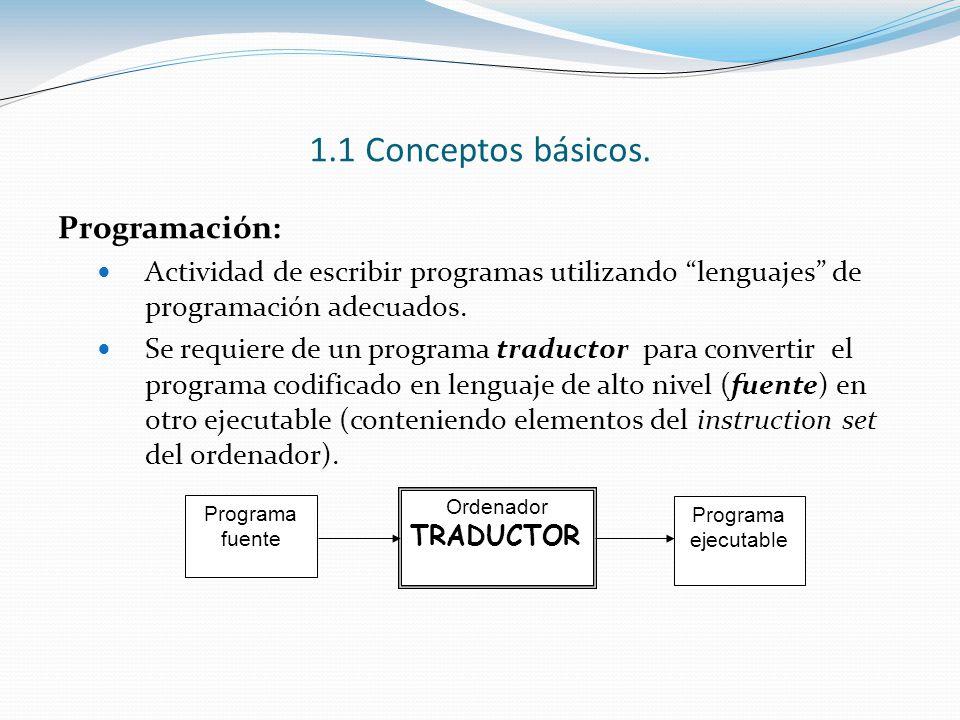 1.1 Conceptos básicos. Programación: Actividad de escribir programas utilizando lenguajes de programación adecuados. Se requiere de un programa traduc