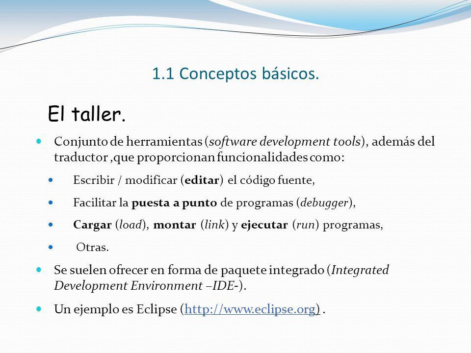 1.1 Conceptos básicos. El taller. Conjunto de herramientas (software development tools), además del traductor,que proporcionan funcionalidades como: E