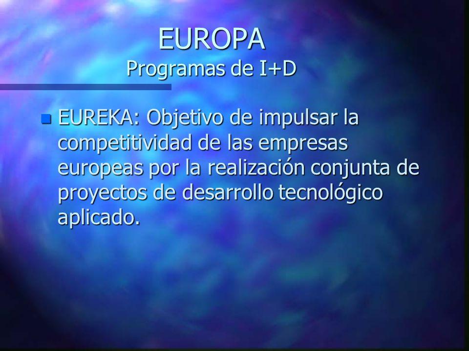 EUROPA Programas de I+D n EUREKA: Objetivo de impulsar la competitividad de las empresas europeas por la realización conjunta de proyectos de desarrollo tecnológico aplicado.