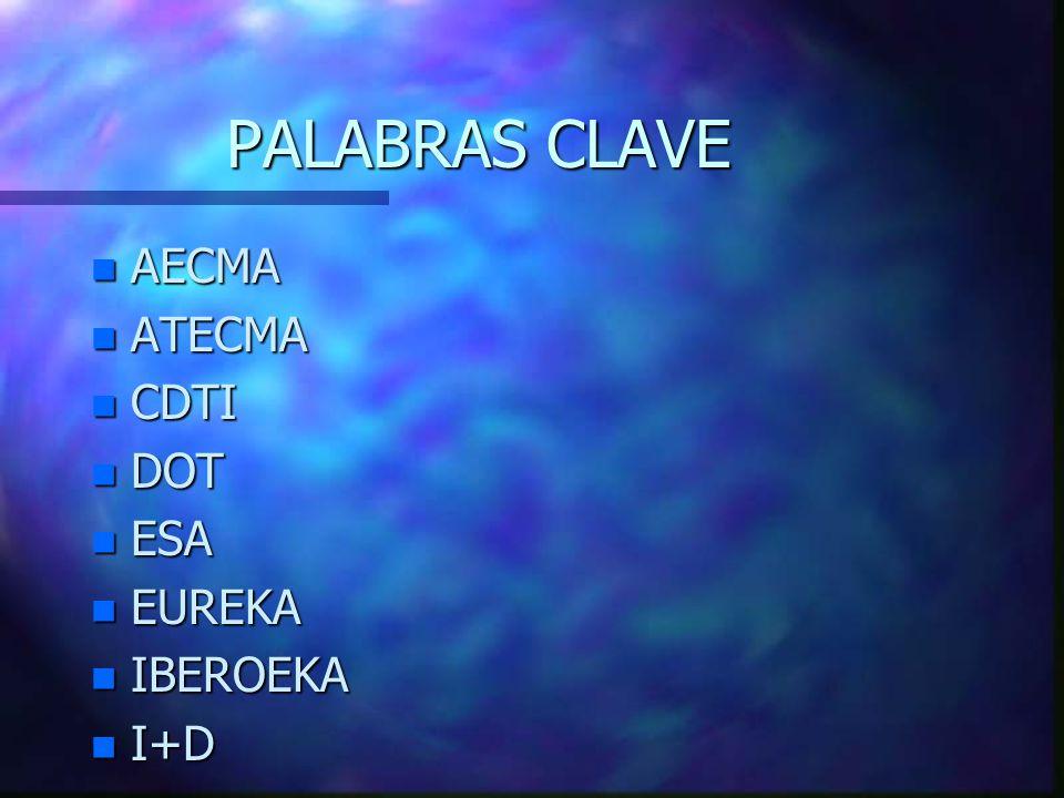PALABRAS CLAVE n AECMA n ATECMA n CDTI n DOT n ESA n EUREKA n IBEROEKA n I+D