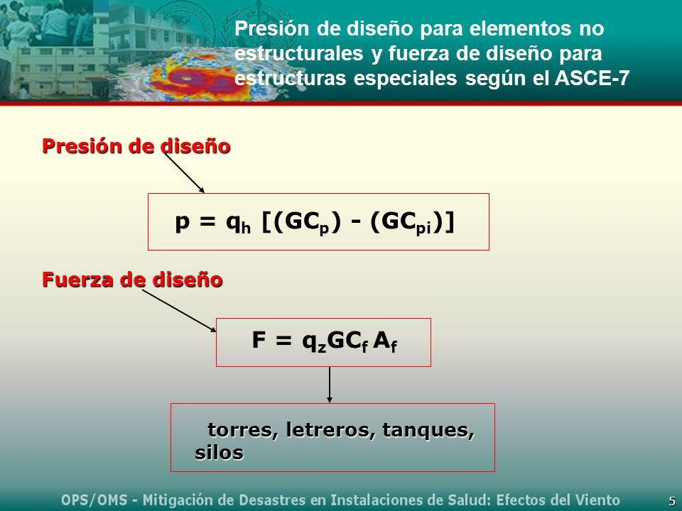 5 Presión de diseño para elementos no estructurales y fuerza de diseño para estructuras especiales según el ASCE-7 torres, letreros, tanques, silos torres, letreros, tanques, silos p = q h [(GC p ) - (GC pi )] Presión de diseño Fuerza de diseño F = q z GC f A f