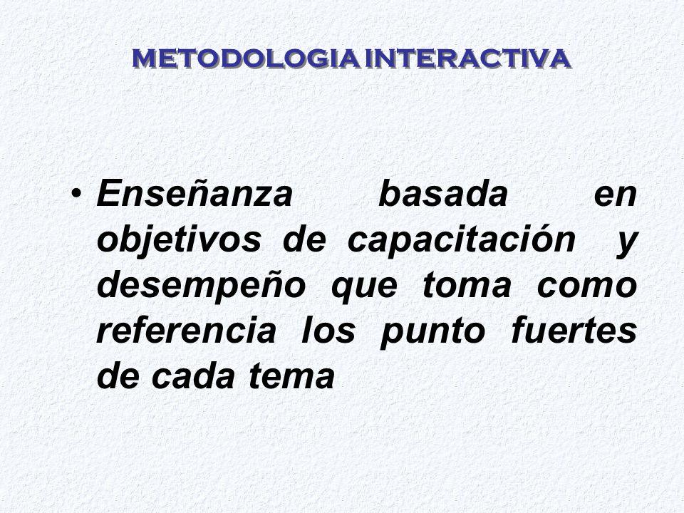 METODOLOGIA INTERACTIVA Enseñanza basada en objetivos de capacitación y desempeño que toma como referencia los punto fuertes de cada tema
