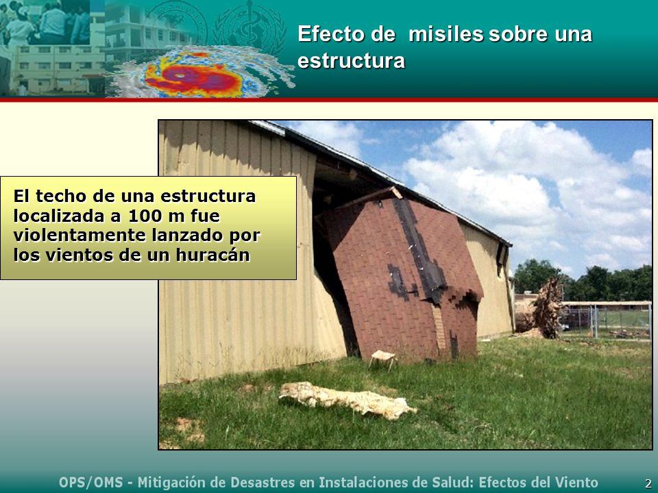 2 Efecto de misiles sobre una estructura El techo de una estructura localizada a 100 m fue violentamente lanzado por los vientos de un huracán
