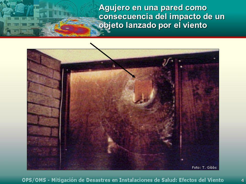 4 Agujero en una pared como consecuencia del impacto de un objeto lanzado por el viento