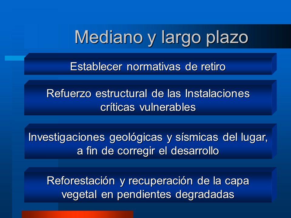 Mediano y largo plazo Investigaciones geológicas y sísmicas del lugar, a fin de corregir el desarrollo Reforestación y recuperación de la capa vegetal