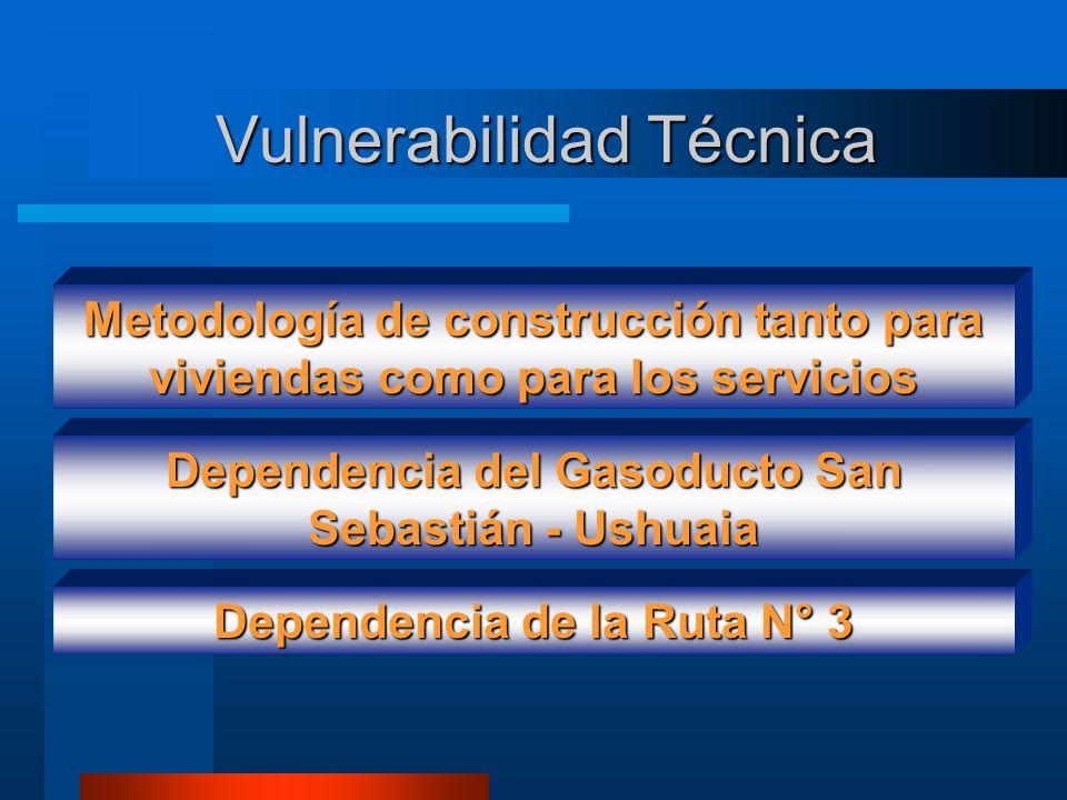 Vulnerabilidad Natural Condiciones climáticas Dependencia de la sociedad a los Servicios 10903 7876 8288 10887 0 2000 4000 6000 8000 10000 12000 Total viviendas C/GasC/AguaC/E.