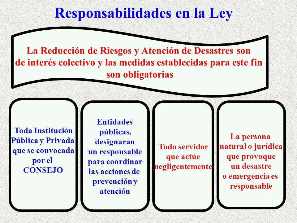 Responsabilidades en la Ley Entidades públicas, designaran un responsable para coordinar las acciones de prevención y atención Todo servidor que actúe