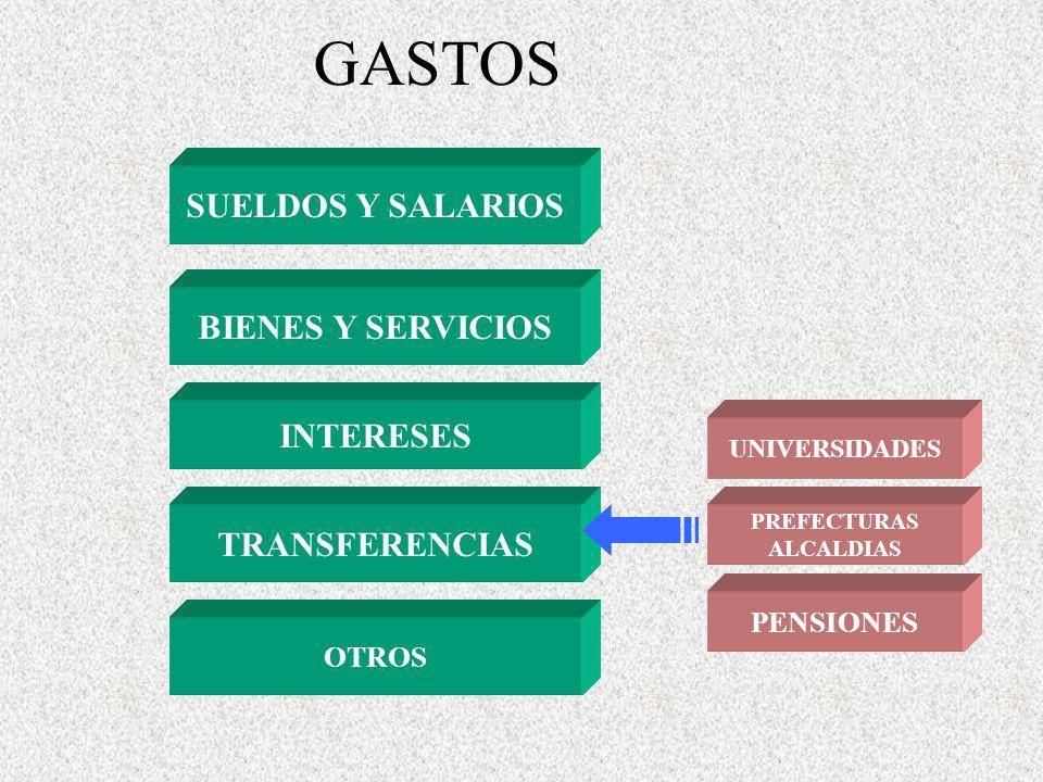 GASTOS SUELDOS Y SALARIOS BIENES Y SERVICIOS INTERESES OTROS TRANSFERENCIAS PENSIONES PREFECTURAS ALCALDIAS UNIVERSIDADES
