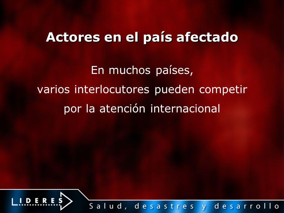 Actores en el país afectado En muchos países, varios interlocutores pueden competir por la atención internacional