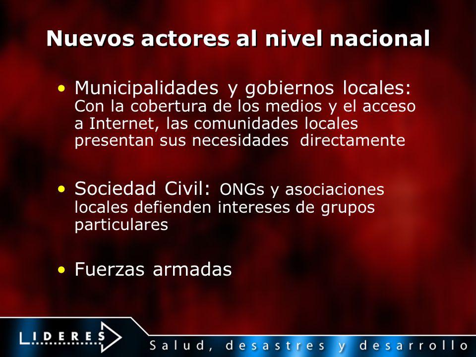 Nuevos actores al nivel nacional Municipalidades y gobiernos locales: Con la cobertura de los medios y el acceso a Internet, las comunidades locales p