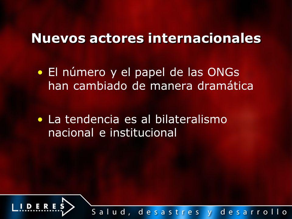Nuevos actores internacionales El número y el papel de las ONGs han cambiado de manera dramática La tendencia es al bilateralismo nacional e instituci