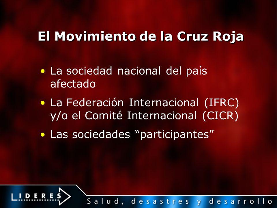 El Movimiento de la Cruz Roja La sociedad nacional del país afectado La Federación Internacional (IFRC) y/o el Comité Internacional (CICR) Las socieda