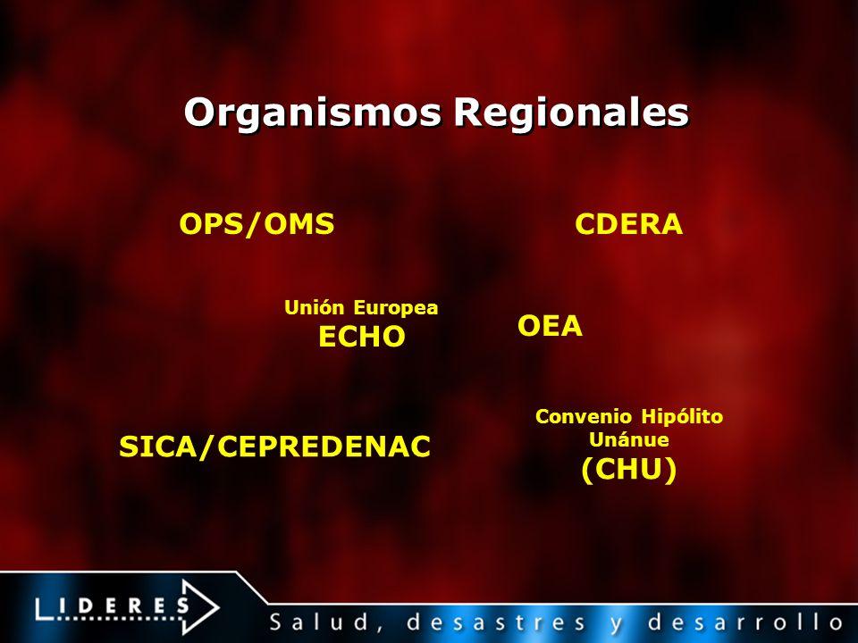 Organismos Regionales OPS/OMS CDERA Unión Europea ECHO Convenio Hipólito Unánue (CHU) SICA/CEPREDENAC OEA