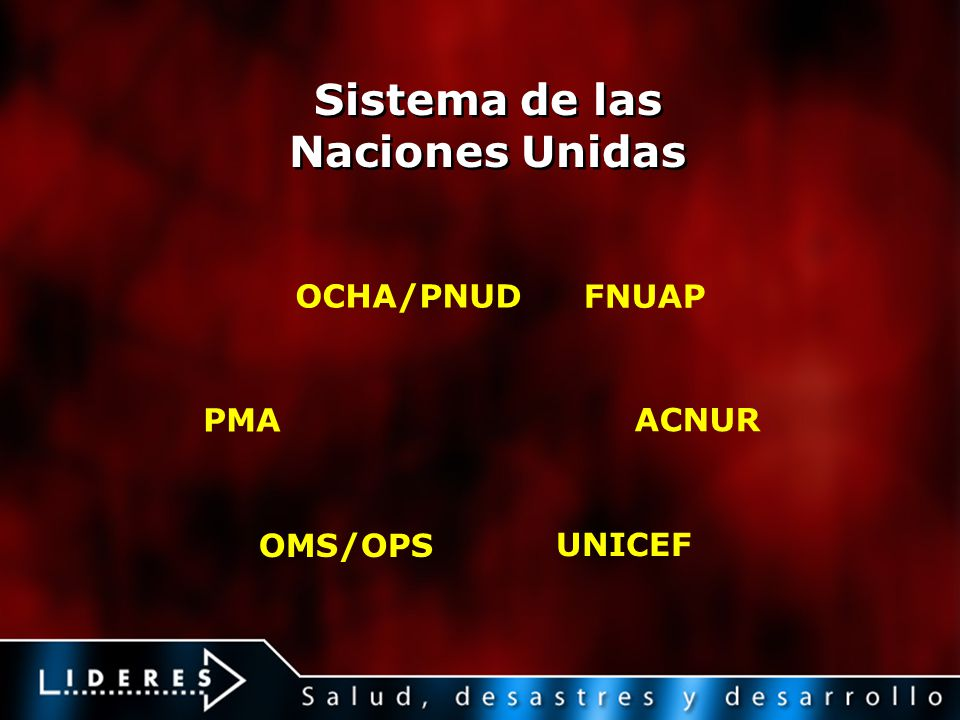 Sistema de las Naciones Unidas OCHA/PNUD FNUAP PMA OMS/OPS ACNUR UNICEF