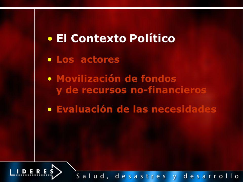 El Contexto Político Los actores Movilización de fondos y de recursos no-financieros Evaluación de las necesidades