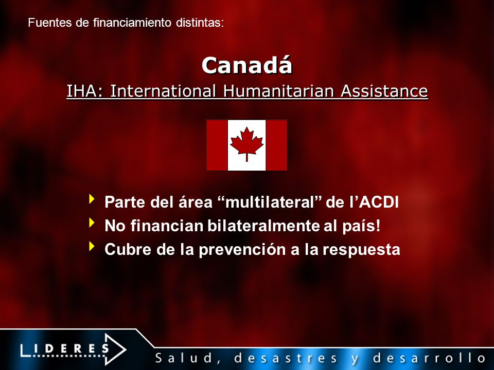 Canadá IHA: International Humanitarian Assistance Parte del área multilateral de lACDI No financian bilateralmente al país.