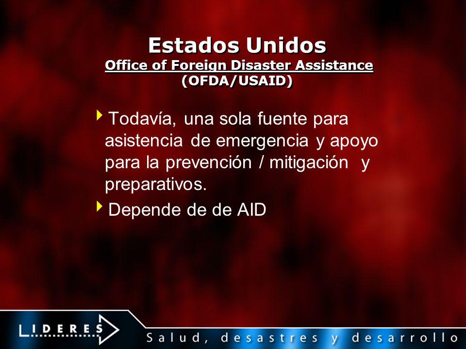 Estados Unidos Office of Foreign Disaster Assistance (OFDA/USAID) Todavía, una sola fuente para asistencia de emergencia y apoyo para la prevención /
