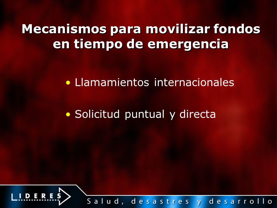 Mecanismos para movilizar fondos en tiempo de emergencia Llamamientos internacionales Solicitud puntual y directa