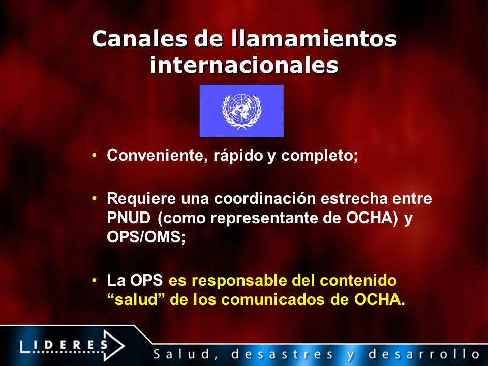 Canales de llamamientos internacionales Conveniente, rápido y completo; Requiere una coordinación estrecha entre PNUD (como representante de OCHA) y O