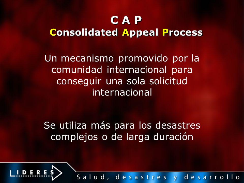 C A P Consolidated Appeal Process Un mecanismo promovido por la comunidad internacional para conseguir una sola solicitud internacional Se utiliza más