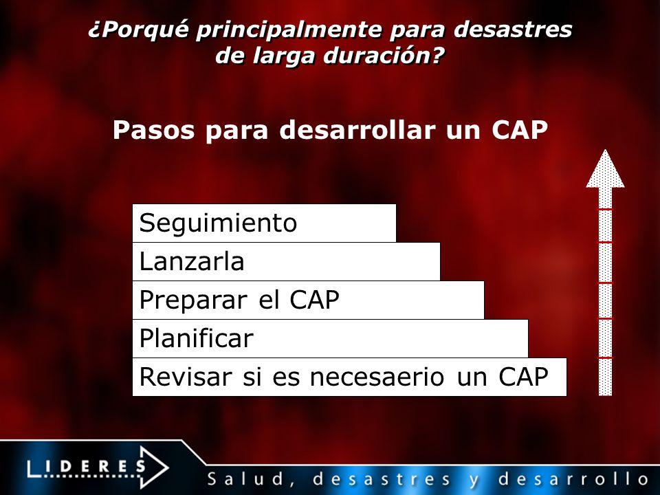 ¿Porqué principalmente para desastres de larga duración? Revisar si es necesaerio un CAP Seguimiento Lanzarla Preparar el CAP Planificar Pasos para de