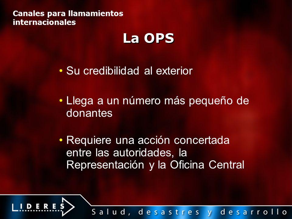 La OPS Su credibilidad al exterior Llega a un número más pequeño de donantes Requiere una acción concertada entre las autoridades, la Representación y