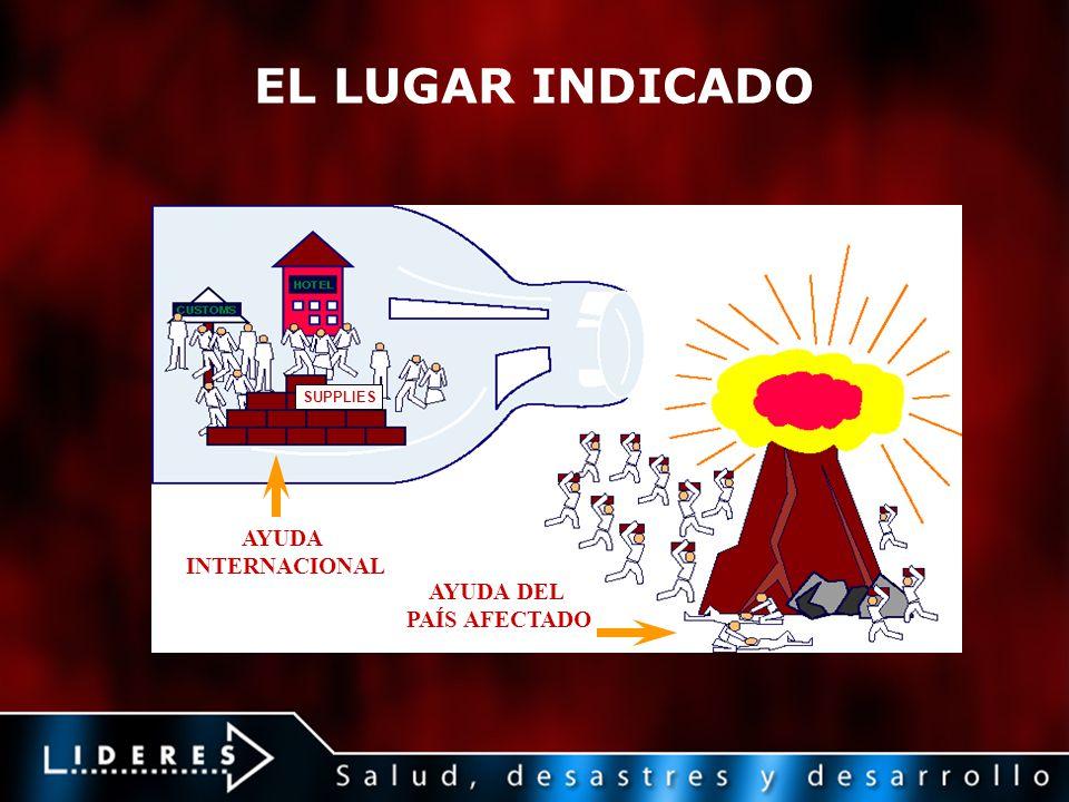 EL LUGAR INDICADO AYUDA INTERNACIONAL AYUDA DEL PAÍS AFECTADO SUPPLIES