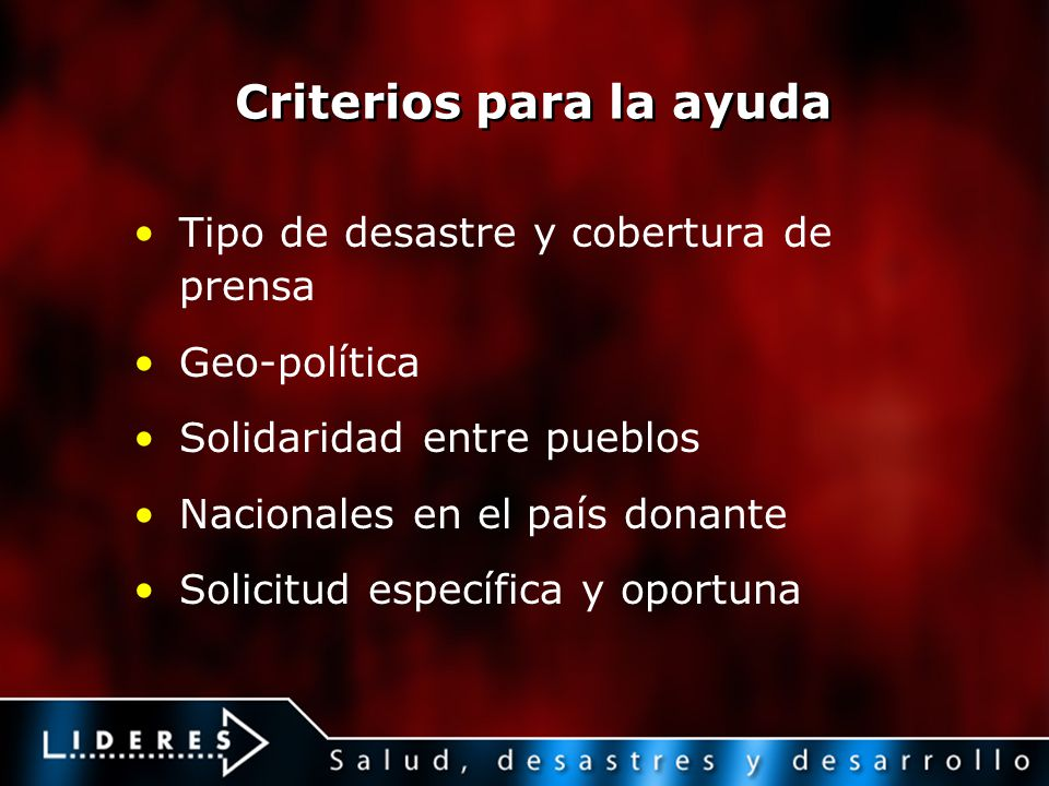 Criterios para la ayuda Tipo de desastre y cobertura de prensa Geo-política Solidaridad entre pueblos Nacionales en el país donante Solicitud específi