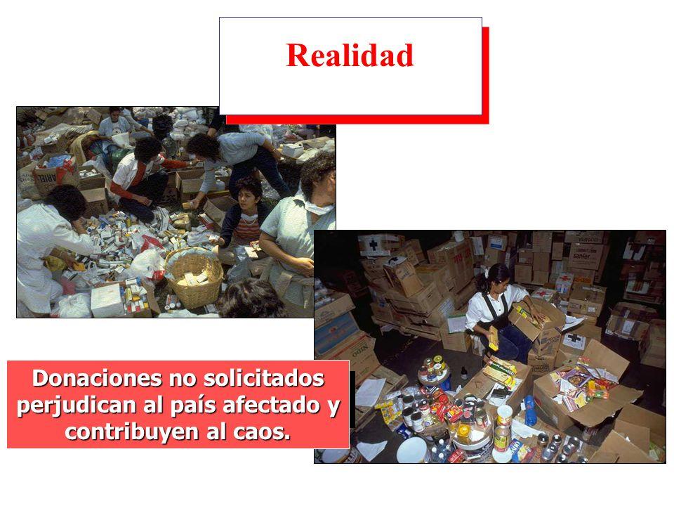 Donaciones no solicitados perjudican al país afectado y contribuyen al caos. Realidad