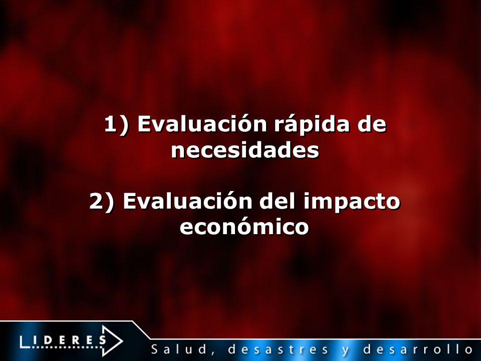 1) Evaluación rápida de necesidades 2) Evaluación del impacto económico