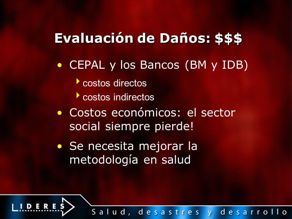 Evaluación de Daños: $$$ CEPAL y los Bancos (BM y IDB) costos directos costos indirectos Costos económicos: el sector social siempre pierde! Se necesi