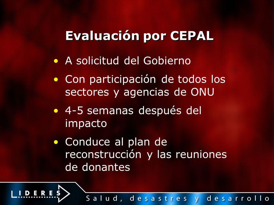 Evaluación por CEPAL A solicitud del Gobierno Con participación de todos los sectores y agencias de ONU 4-5 semanas después del impacto Conduce al pla