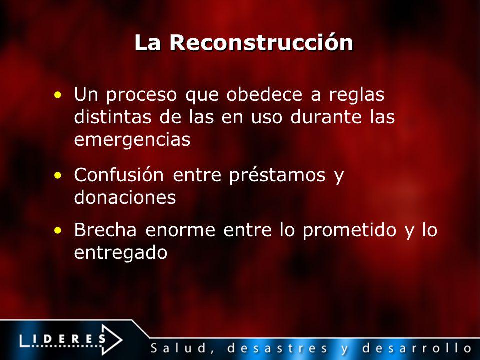 La Reconstrucción Un proceso que obedece a reglas distintas de las en uso durante las emergencias Confusión entre préstamos y donaciones Brecha enorme