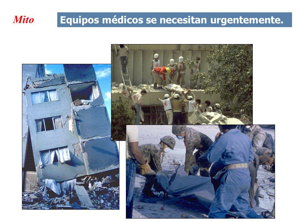 Mito Equipos médicos se necesitan urgentemente.