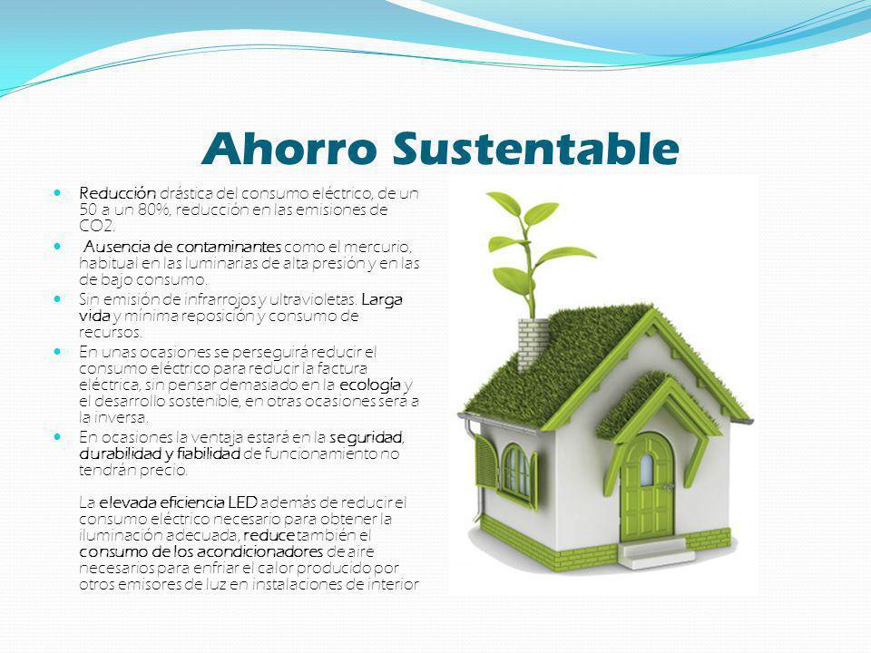 Ahorro Sustentable Reducción drástica del consumo eléctrico, de un 50 a un 80%, reducción en las emisiones de CO2. Ausencia de contaminantes como el m