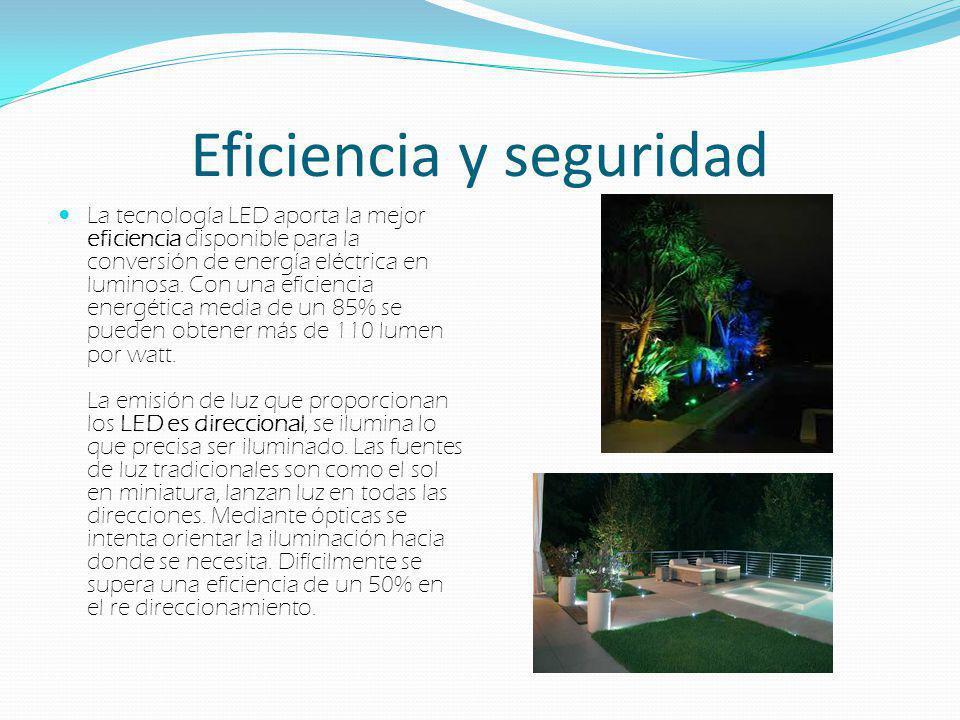 Eficiencia y seguridad La tecnología LED aporta la mejor eficiencia disponible para la conversión de energía eléctrica en luminosa. Con una eficiencia