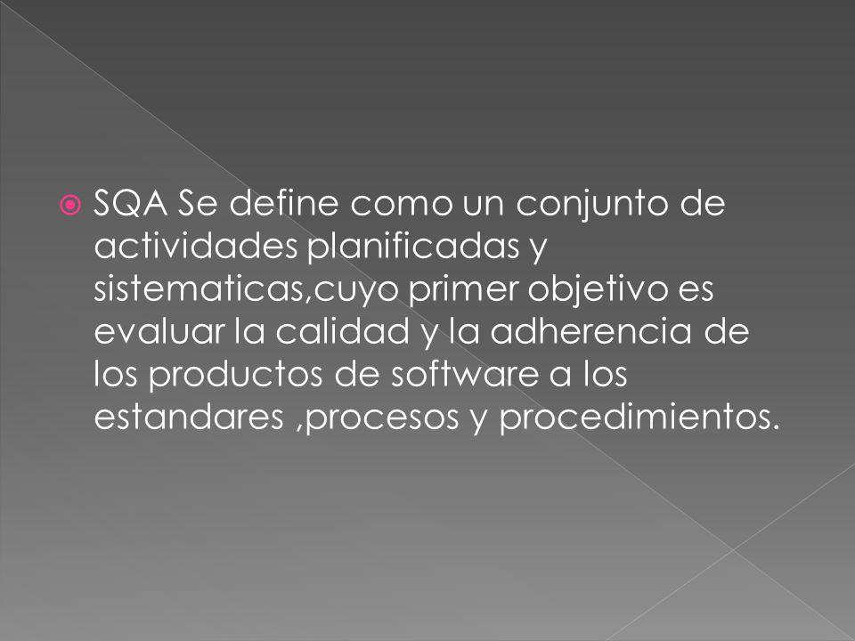 SQA Se define como un conjunto de actividades planificadas y sistematicas,cuyo primer objetivo es evaluar la calidad y la adherencia de los productos