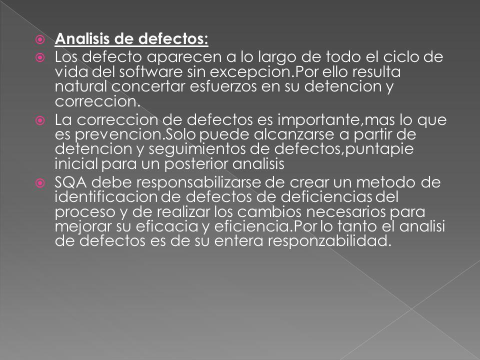 Analisis de defectos: Los defecto aparecen a lo largo de todo el ciclo de vida del software sin excepcion.Por ello resulta natural concertar esfuerzos